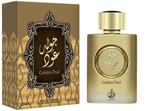 Asdaaf Golden Oud - Perfume con toques de almizcle, madera, vetiver y pachuli, 100ml