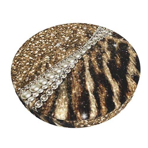 Round Bar Stools Cover,Schöner Schicker Girly Leopard Animal Faux Fur Print,Stretch Chair Seat Bar Stool Cover Seat Cushion Slipcovers Chair Cushion Cover Round Lift Chair Stool
