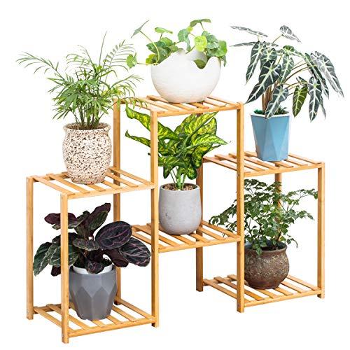 Bamboo 6 Tier Plant Stand Rack Multiple Flower Pot Holder Shelf Indoor Outdoor Planter Display Shelving Unit for Patio Garden Corner Balcony Living Room