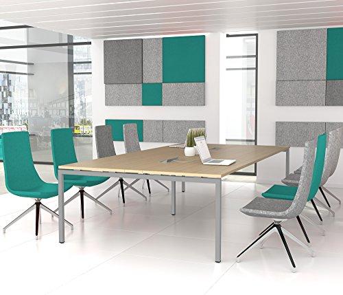 Weber Büroleben GmbH NOVA Konferenztisch 320x164cm Eiche mit ELEKTRIFIZIERUNG Besprechungstisch Tisch, Gestellfarbe:Silber