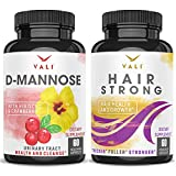 D Mannose 1000 mg Urinary Tract Health - Triple Strength Organic Cranberry 50:1 Concentrate & Hibiscus & Hair Health Growth Vitamins with Biotin & Keratin - for Longer Stronger Hair, Skin & Nails