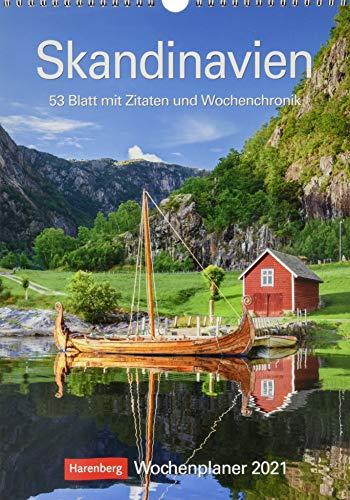 Skandinavien Kalender 2021: Wochenplaner, 53 Blatt mit Zitaten und Wochenchronik