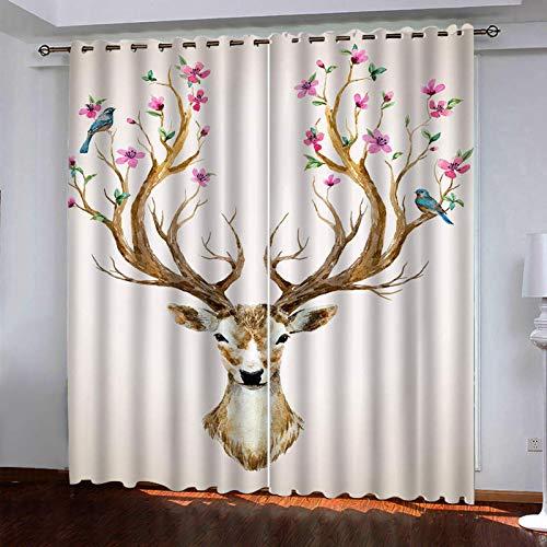 WLHRJ Cortina Opaca en Cocina el Salon dormitorios habitación Infantil 3D Impresión Digital Ojales Cortinas termica - 234x183 cm - Animal Alce Flor pájaro