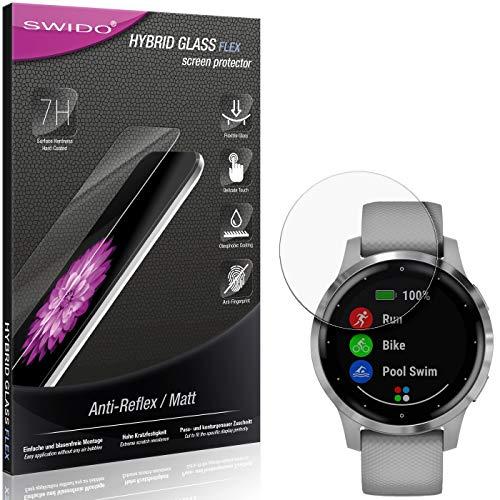 SWIDO Panzerglas Schutzfolie kompatibel mit Garmin vivoactive 4S (40mm) Bildschirmschutz Folie & Glas = biegsames HYBRIDGLAS, splitterfrei, MATT, Anti-Reflex - entspiegelnd