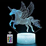 Lámpara de ilusión 3D de unicornio, luz nocturna, alimentada por USB, 16 colores, interruptor táctil intermitente, decoración de dormitorio para niños, regalo de Navidad