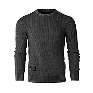 Men's Classic Vintage Color Wash Ribbed Crew Neck Pullover Casual Swe...