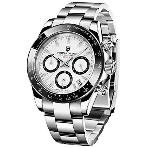 Herren-Armbanduhr, Edelstahl, analog, Quarz-Armbanduhr für Herren, Daytona, Homage, luxuriös, wasserdicht, automatische Datumsanzeige weiß, versilbert