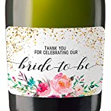 'Thank You for Celebrating Our Bride-to-be' Mini Champagne Bottle Label Sticker for Bridal Shower Party - Gifts for Guests, Thank You Gift, Event Invitation - Unique Specialized Bespoke Set of 20