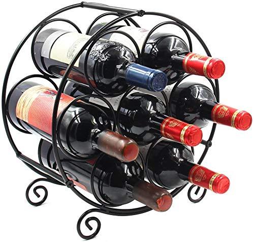 A-Generic 7 Botellas de pie Libre con encimera metálico de Vino Titular de Almacenamiento de Vino Soportes de Soporte Negro-De 7 Botellas_Negro