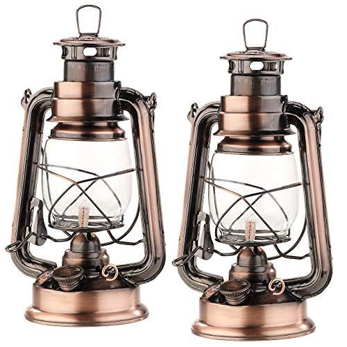 Lunartec Petroleumlampe: 2er-Set nostalgische Petroleum-Sturmlaternen mit Glaskolben, 24 cm (Petrollampe)