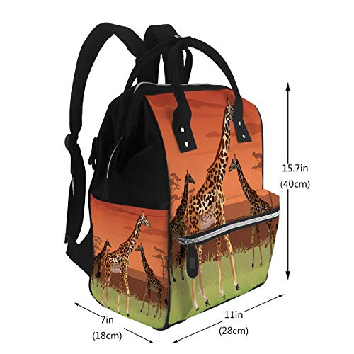 Water-Resistant Baby Bags Sunset African Landscape Colorful Scene With Large Cap