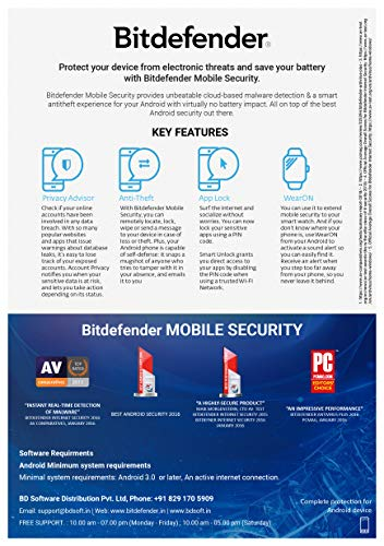 Bitdefender - 1 Device,1 Year - Mobile Security | Android| Latest Version | Email Delivery in 2 Hours- No CD | 2