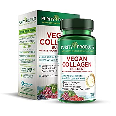 Vegan Collagen Builder - Organic Whole Foods Fruits + Veg, Silica, Lutein, Vitamin C, Biotin, Grape Seed - Amino Acids Glycine, Lysine + Proline Collagen Boosters - Once A Day - 30 Tablets