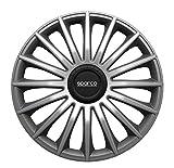 Sparco SPC1393GRSV Treviso - Juego de 4 tapacubos de 13 Pulgadas, Color Negro y Plateado