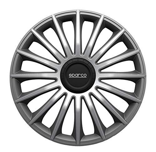 SPARCO SPC1393GRSV Set de 4 Enjoliveurs 13 Pouces Treviso, Noir/Argent