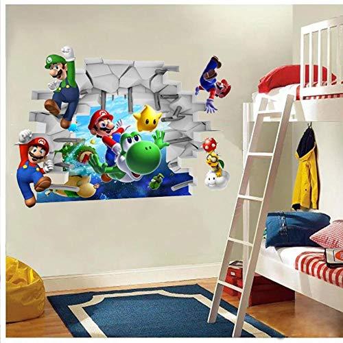Cartoon Mario Kinderzimmer Wandaufkleber Abziehbilder Kinderzimmer Wohnkultur Wandbild für Jungen Schlafzimmer Wohnzimmer Wandbild Kunst 65 * 48cm