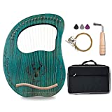 Lyre Harp, 19 Metal Strings Maple Saddle Mahogany Body Lyra Harp with Bag key included