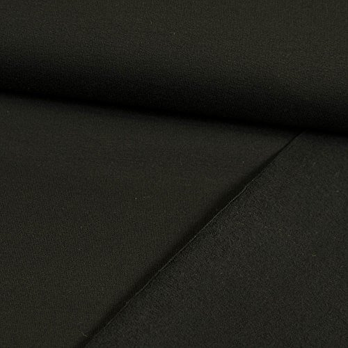 Stoffe Werning French Terry Uni - angeraute Rückseite schwarz Sommersweat - Preis Gilt für 0,5 Meter