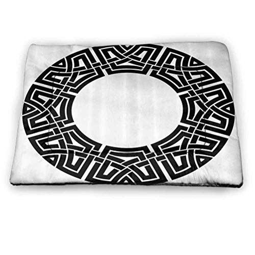 Pet Cushion Dog Bed Celtic Decor Collection Anti-Slip Pet Beds Ornamental Round Celtic Frame with Folkloric Tied Knot Pattern Vintage Decorative Design Lovely Pet Supplies for Cats Kittens (52'x34')