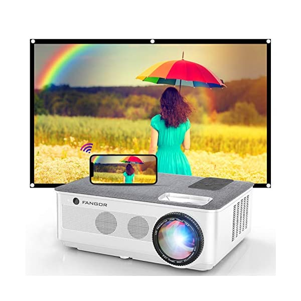 1080P Projector, FANGOR 2021 WiFi Projector Bluetooth Support, 7500 Lux Movie Projector...
