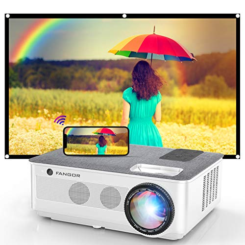 1080P Projector FANGOR 2021 WiFi Projector Bluetooth Support 7500 Lux Movie Projector 4K Video Support Home Projector Compatible with TV Stick HDMI USB VAG iOS/Android 120#039#039Screen Included