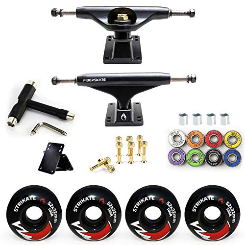 YOUMI Skateboard Trucks Insieme Combinato W / 54mm Ruote + Nero Lucido Camion della Confezione, Skateboard Cuscinetti, Viti/Skateboard, Skateboard Riser Pads,2