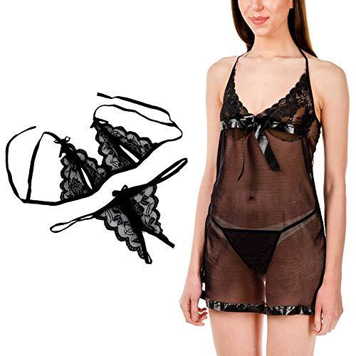 Billebon Combo Women Baby Doll Nightwear Nightwear Lingerie with G-String...