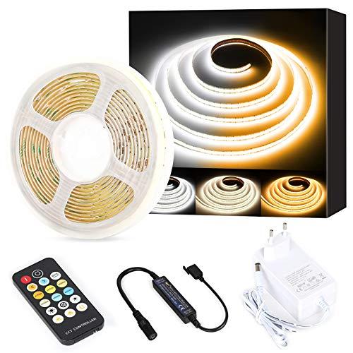 COB LED Tira de luces blanco CCT sintonizable, PAUTIX 3M regulable 2700K-6500K 24V Kit de luces de cinta LED, superbrillante para dormitorio, cocina, dormitorio, TV, espejo, iluminación de bricolaje