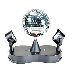 X4-LIFE LED Partydeko Spiegelkugel mit Doppelstrahler