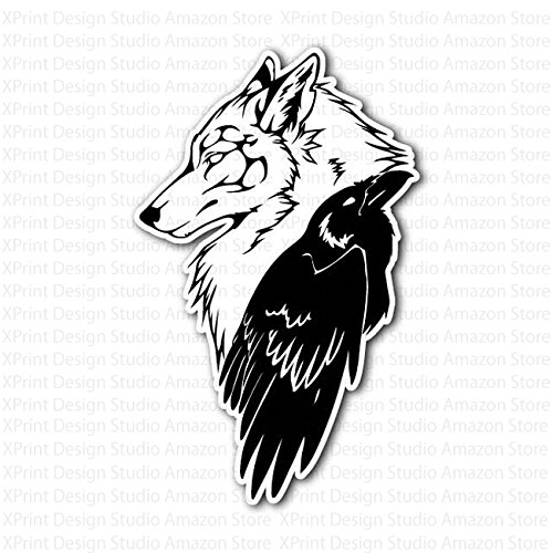 Wolf Head And Celtic Crow Sticker