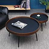 N/Z Living Equipment 2 Round Coffee Tables Natural Wood Tea Table Nordic Nesting Tables Waterproof Easy Assembly Bedside Nightstand Side Tables for Living Room