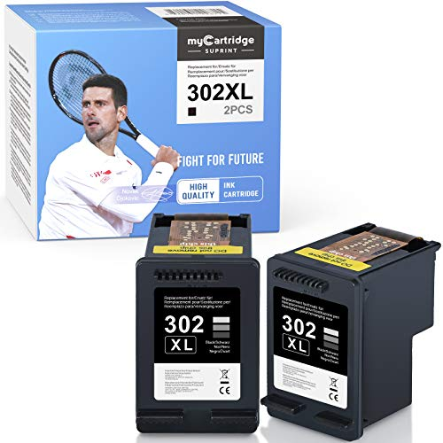 myCartridge SUPRINT 302 XL Cartuchos de tinta remanufacturados para HP 302 302XL Negro Compatible para HP Officejet 3830 3831 3833 4650 5230 Envy 4520 4525 4527 Deskjet 1110 3630 3636(2 negro)