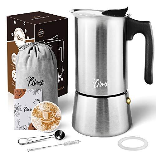 Espressokocher Induktion geeignet Edelstahl Mokkakanne 300ml/ 6 Tassen Espresso Maker Setmit Ersatz-Dichtung Keramikuntersetzer Löffel Bürste und Tasche