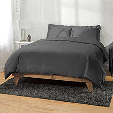 ExceptionalSheets 1200 Thread Count Egyptian Cotton 3pc Duvet Cover by, King/Cal King, Charcoal
