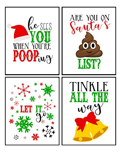 Silly Goose Gifts Vintage Themed Beautiful Christmas Art Print Wall Art Sets (Funny Bathroom Set of 4)