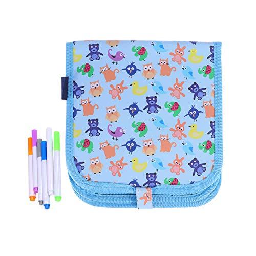 STOBOK Tablero de dibujo portátil de doble cara Pizarra de escritura Pintura de viaje Libro de pizarra para niños Niños / 10 páginas con 6 tizas