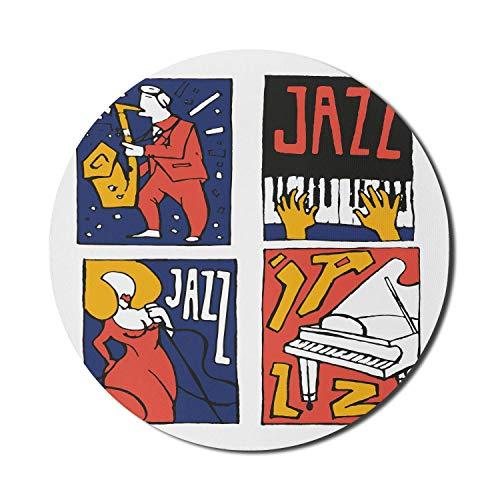 Jazz Mouse Pad für Computer, musikalisches Thema Comic-Stil Bildmusik Festival Klavier Saxophon und Singer Club, rundes rutschfestes dickes Gummi Modern Gaming Mousepad, 8 'rund, mehrfarbig