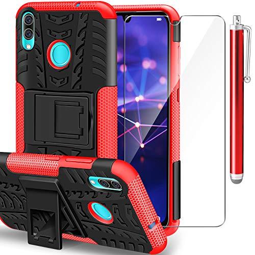 AROYI Funda Huawei P Smart 2019 + Protector de Pantalla, 2 en 1 Duro PC Funda y Soft TPU Cáscara de Cubierta Protectora de Doble Funda Caso para Huawei P Smart 2019 Rojo