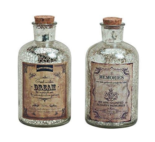 2er Set Glasflasche im Antik Look Dream & Memories H: 16cm- als Vasen Set, Tischdeko etc.