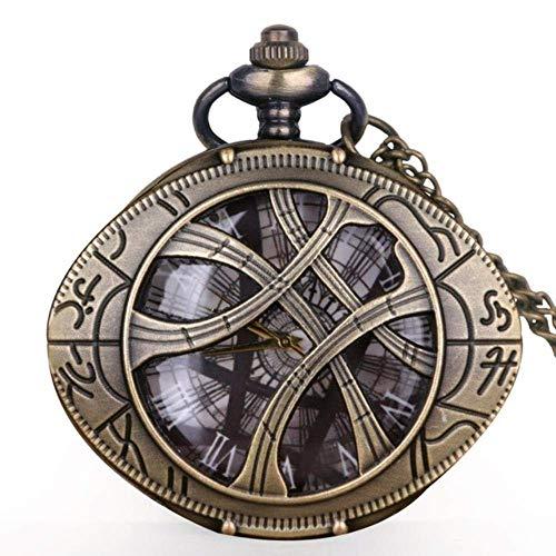 J-Love Reloj de Bolsillo de Cuarzo de dragón Chino de Bronce Vintage con Cadena Retro Hombres Mujeres Colgante Collar Reloj Regalo