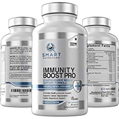 Comprehensive immune support supplement; smart nutra labs industry leading immunity boost pro with 20 all natural ingredients including zinc, elderberry, vitamin c and echinachea supports stronger immune defense mechanism of the body No ingredients f...