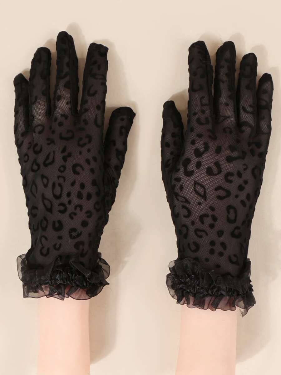 ZZTT Autumn and Winter Gloves Mesh Trim Gloves Warm and Comfortable Gloves for Men or Momen (Color : Black, Size : One-Size)