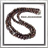 braune Perlenkette 2 reihig mit Magnetschließe 925