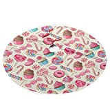 SXKKoin 35.5' Traditional Holiday Christmas Tree Skirt with Colorful Sweet Lollipop Candy Macaroon Cupcake Donut Design