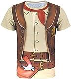 COSAVOROCK Herren Cowboy Kostüm T-Shirts (M, Cowboy)