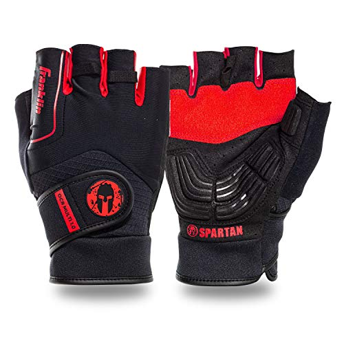 Franklin Sports Spartan Race Gloves - Mens + Womens OCR Obstacle Course Grip Gloves - Pair - Black/Red - Adult Medium - Multi Sport Gloves