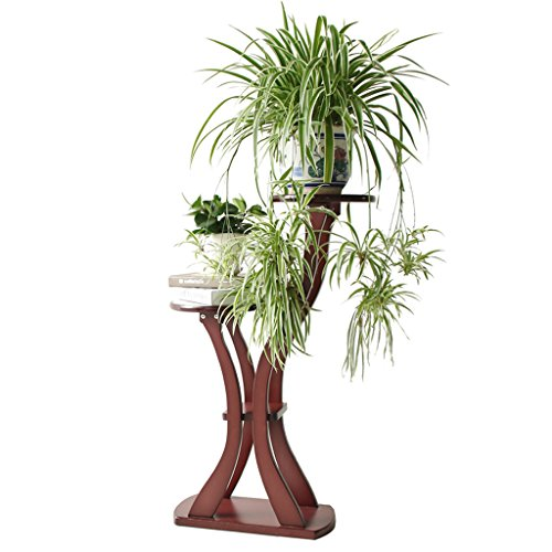 Estante de flores de madera maciza Original de madera de múltiples capas Balcón de interior Estante de flores de bonsái Piso europeo de madera, rojo marrón / castaño rojo, 48 * 24 * 95 (65) cm ( Color : Chestnut red )