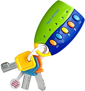 Sanwooden Toy Gift Musical Car Key Toy Colorful Baby Toy Smart Remote Sound Musical Car Key Keychain Pretend Education Toy...