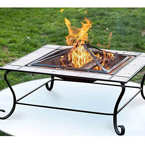 QWD Ofengrill firefroof Tuch, Grill Feuerschalenmatte mit Grillschutz für Holzfeuergas Feuer Grube Holzkohle Grill für Außenterrasse und hohe Strahlungsheizgras (24 Zoll)
