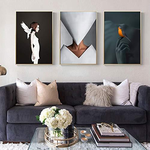 Geiqianjiumai verf abstract schilderij Scandinavisch karakterposters en drukt modern interieur van geometrische meisjesslaapkamer
